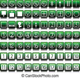 jogo, verde, dois, ilustração, ícones
