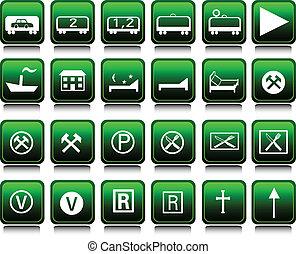 jogo, verde, ilustração, ícones