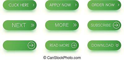jogo, verde, isolado, white., ícones