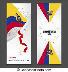 jogo, vertical, independência, fundo, confetti, celebração, bandeira, dia, equador, feliz