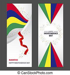 jogo, vertical, mauritius, fundo, confetti, celebração, bandeira, dia, independência, feliz