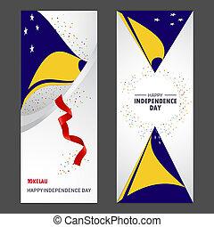jogo, vertical, tokelau, fundo, confetti, celebração, bandeira, dia, independência, feliz