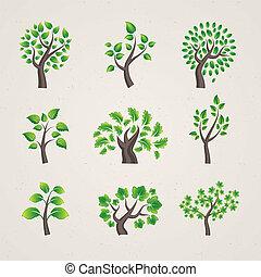 jogo, vetorial, árvores