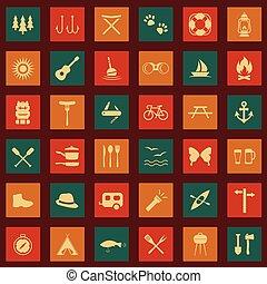 jogo, vetorial, ícones, acampamento