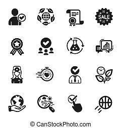 jogo, vetorial, ícones negócio, basquetebol, busca, vôo, timer., tal