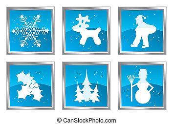 jogo, vetorial, desenho, natal, elemento