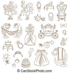 jogo, -, vetorial, desenho, scrapbook, menina, princesa