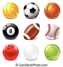 jogo, vetorial, desporto, bolas, ícones