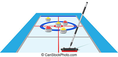 jogo, vetorial, desporto, curling