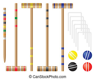jogo, vetorial, equipamento, croquet