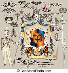 jogo, vetorial, heraldic, desenho, elem