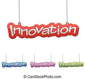 jogo, vetorial, ilustrações, isolado, tag, bandeira, inovação, em, quatro, cor, variante, vermelho, azul, roxo, e, green., este, elemento, é, wel, adapted, para, teia, design.