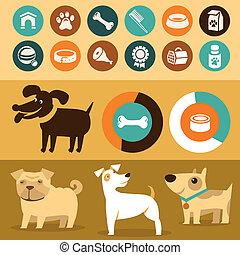 jogo, -, vetorial, infographics, cachorros, elementos