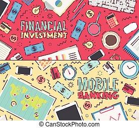 jogo, vetorial, investimento financeiro, móvel, operação bancária