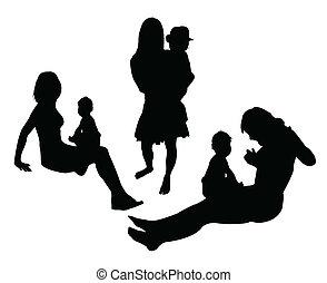 jogo, vetorial, mãe, criança
