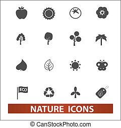 jogo, vetorial, natureza, ícones