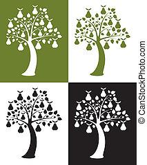 jogo, vetorial, pêra, árvores