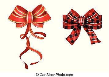 jogo, vetorial, presente, ribbons., vermelho, grande, arcos