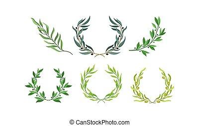 jogo, vetorial, separado, grinaldas, folhas, ramos, ramos