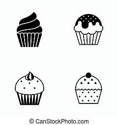 jogo, vetorial, silueta, cupcake, ícone