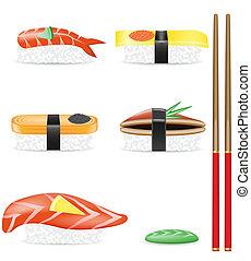 jogo, vetorial, sushi, ilustração, ícones