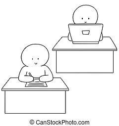 jogo, vetorial, trabalhador, escritório