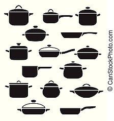 jogo, vetorial, utensils., cozinha