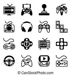 jogo, vetorial, vídeo, jogo, ícone