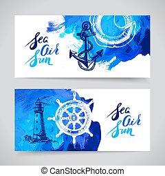 jogo, viagem, oceânicos, banners., desenho, mar, náutico,...