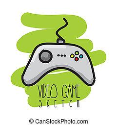 jogo video, esboço