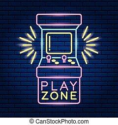 jogo video, néon