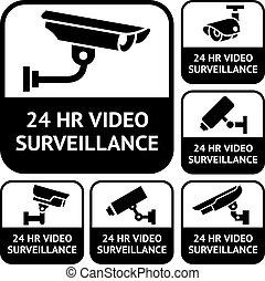 jogo, vigilância, cctv, labels., símbolos, vetorial, vídeo,...