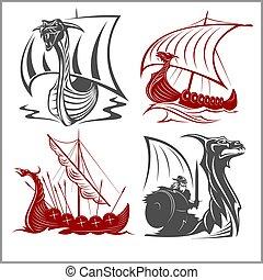 jogo, vikings, navios, -, vetorial, fundo, branca