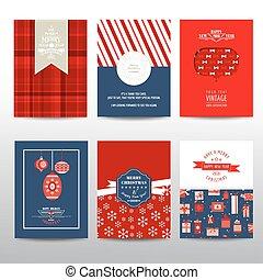 jogo, vindima, folhetos, -, leiautes, vetorial, cartões, natal