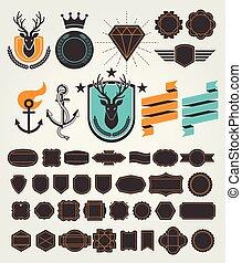 jogo, vindima, labels., vetorial, retro, emblemas, illustrations.