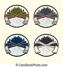 jogo, vindima, lumberjack, etiquetas, elementos, desenho