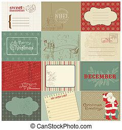 jogo, vindima, vetorial, desenho, natal, elementos