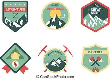 jogo, vindima, viagem, acampamento, emblemas, madeiras, logotipo, emblemas