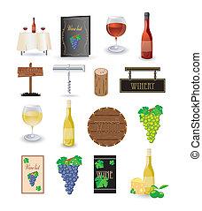 jogo, vinho, ícone