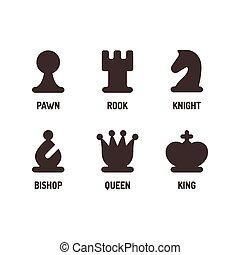 jogo, xadrez, ícones