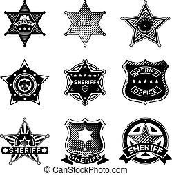 jogo, xerife, ou, vetorial, estrelas, marshal, emblemas