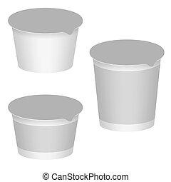 jogo, yogurt, desserts., ilustração, embalagem, produtos, vetorial, em branco, branca, leite, design.