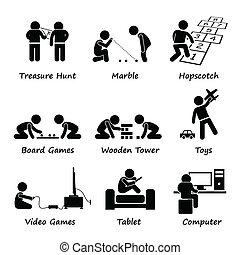 jogos, crianças, clipart, tocando