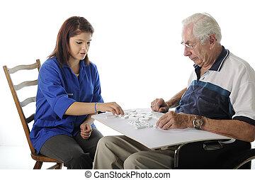 jogos, tocando, idoso