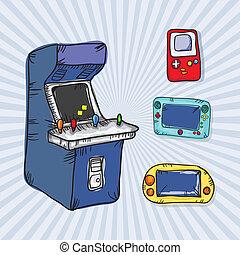 jogos video, ícones