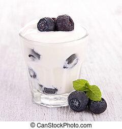 jogurt, borůvka