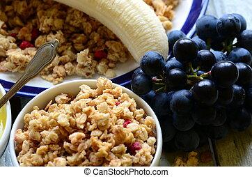 jogurt, muesli, owoc, zboże