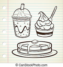 jogurt, napój, miękki, naleśnik