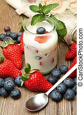 jogurt, s, bobule