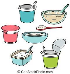 jogurt, wektor, komplet